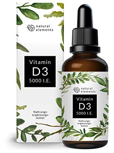 Vitamin D3 - Laborgeprüfte 5000 I.E. pro Tropfen - 50ml (1700 Tropfen) - Variante des mehrfachen Siegers 2019/2020* - In MCT-Öl aus Kokos - Hochdosiert, flüssig
