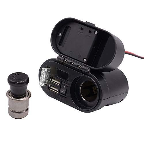 Cargador de motocicleta, Sistema de carga USB con enchufe para encendedor de cigarrillos Adaptador de cargador USB doble Voltímetro LED Cargador USB de motocicleta para teléfonos/tabletas/GPS