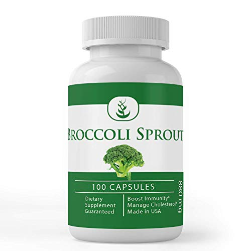Broccoli Sprout Extract (100 Capsules, 880 mg Serving) by Pure Organic Ingredients, Supports Healthy Cholesterol Levels & Immune System* (Packaging May Vary)