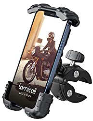 """Lamicall Bike Phone Holder Mount - Motorcycle Handlebar Phone Mount Clamp, One Hand Operation ATV Scooter Phone Clip for iPhone 12 / 11 Pro Max / X / XS, Galaxy S10 and 4.7""""- 6.8"""" Cellphone - Black"""