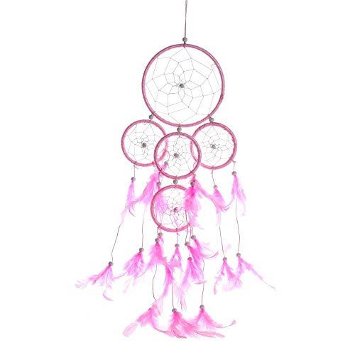 Cinco Anillos Atrapasueño Grande Rosado Dream Catcher Hecho a Mano Atrapasueños Grande Decoracion para Coche,50x13cm