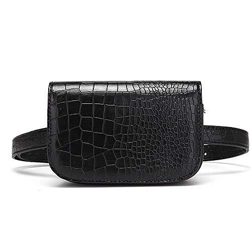 ANLW Fanny Pack Black Crocodile veines Mini Cuir Sac Ceinture Sac pour Les Femmes Cadeau de Poche Multifonctions