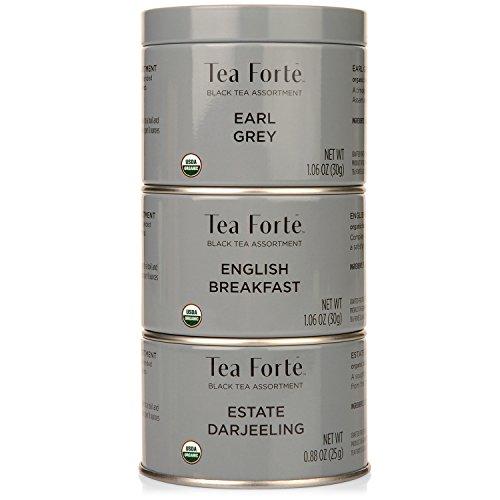 Tea Forte Loose Leaf Tea Trio, 3 Small Tea Tins, Black Tea Sampler, Earl Grey, English Breakfast, and Estate Darjeeling