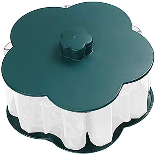 JYDNBGLS Tarro de condimentos, contenedor de especias para cocina, multifuncional en forma de flor, caja de almacenamiento de condimentos, color verde negruzco, cocina y comedor