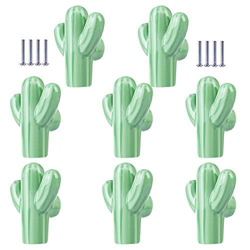 Möbelknöpfe Kinderzimmer Set, Yavso 8er Set Kaktus Keramik Schrankknöpfe Kinderzimmer Kinder Möbelknopf Keramikknauf