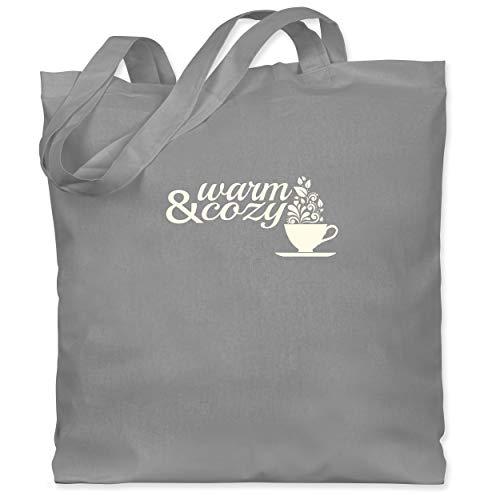 Shirtracer Statement - Warm & cozy Tee - Unisize - Hellgrau - gemütlich - WM101 - Stoffbeutel aus Baumwolle Jutebeutel lange Henkel