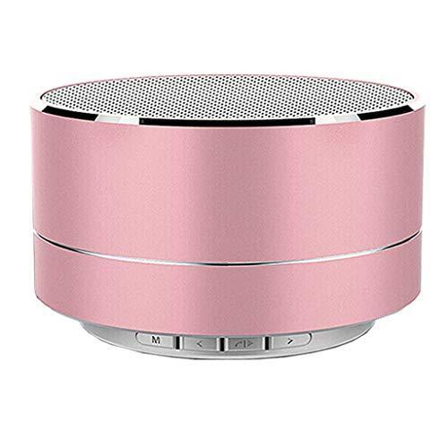 Creative Metal Bluetooth Speaker LED Light Wireless Mini Bass BT Portable Speaker Card Speaker Little Home Theatre (Pink)