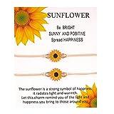 Idiytip Sunflower Wish Bracelet Wax Cord Sunflower Charm Bracelet for Women Men Summer Friendship Beach Bracelet,Beige Rope + White Card