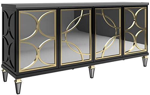 Casa Padrino Barock Sideboard Schwarz/Gold 220 x 55 x H. 105 cm - Prunkvoller Schrank mit 4 verspiegelten Türen - Barock Möbel