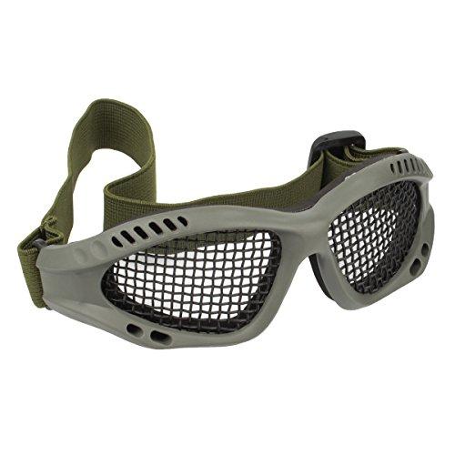 GES Tactical Militar gafas de malla de metal de disparo de gafas de caza de protección para Airsoft Tactical Half Face Mask (Ejército Verde)