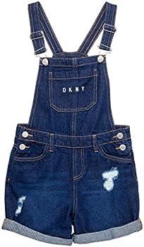 DKNY Girls  Overalls - Stretch Denim Shortalls with Adjustable Straps Size 8 Dark Wash