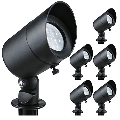 Lumina 4W LED Landscape Lights Cast-Aluminum Waterproof Outdoor Low Voltage Spotlights for Walls Trees Flags Light with Warm White 4W MR16 LED Bulb and ABS Ground Stake Bronze SFL0101-BKLED6 (6PK)