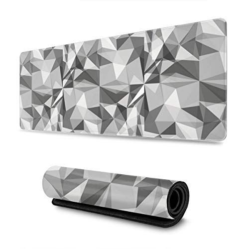 Colorful Geometric Low Poly Gray Gaming Mouse Pad XL, Extended Large Mouse Mat Desk Pad, Stitched Edges Mousepad, Long Non-Slip Rubber Base Mice Pad, 31.5 X 11.8 Inch