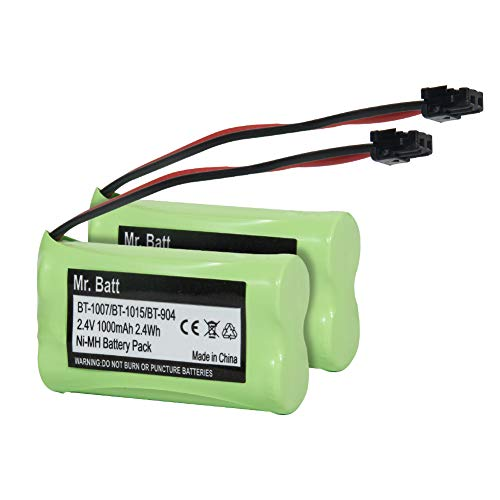 Mr.Batt BT-1007 Cordless Phone Battery Compatible with Uniden Phone, BBTY0651101 Rechargeable Cordless Phone Battery, DC 2.4V 1000mAh (Pack of 2)