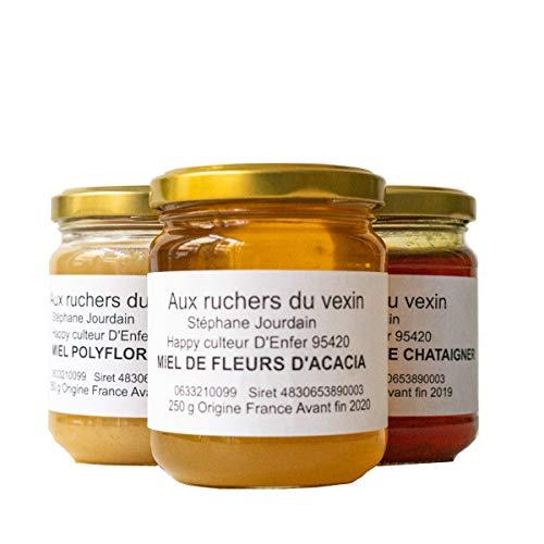 AUX RUCHERS DU VEXIN – Miel Francais 100% PUR & NATUREL Assortiment de 3 parfums : 1 miel d'acacia, 1 miel châtaignier et 1 miel polyfloral. Chaque pot fait 250 grammes.
