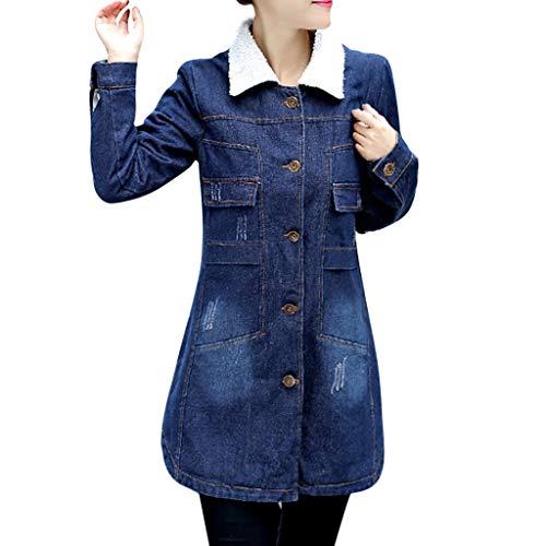 FRAUIT dames lange winter jeansjas dik fleece jack knoop jeans mantel warm gebreid vest slim fit denim outwear rits mantel vrouwen warm zacht comfortabele parka mode elegant streetwear