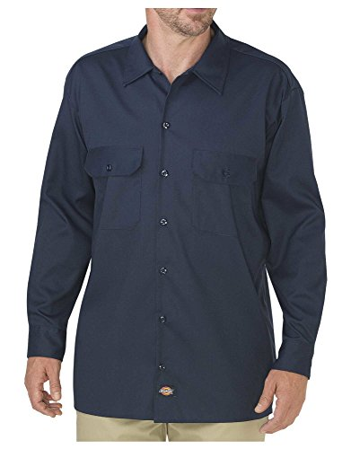 Dickies Men's Long Sleeve Flex Twill Work Shirt, Dark Navy, X-Large