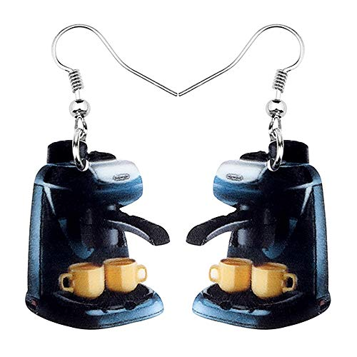 WANGGW Baumeln Ohrringe Schrullig Acryl Anhänger Ohrringe Neuheit Kaffeemaschine Ohrringe Big Long Dangle Modeschmuck Für Frauen Mädchen Damen