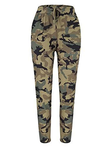 HenzWorld Pantalones Deportivos Casuales para Mujer Pantalones de Chándal de Camuflaje Cintura Elástica con Cordón para Mujer Corredor Múltiple para Exteriores Verde Talla M