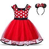 TTYAOVO Bebé Niñas Lunares Princesa Tutú Vestido Cosplay Desfile Carnaval Disfraz Elegante Tamaño110 (3-4 años) 321 Rojo