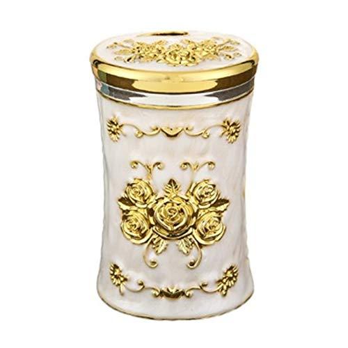 WanuigH Zahnstocherspender Europäischer Stil Zahnstocher Kreative Persönlichkeit Zahnstocher Home Restaurant Hotel KTV Zahnstocher Flasche Bequem zu Benutzen (Farbe : Golden White, Size : 5.5X8.5cm)