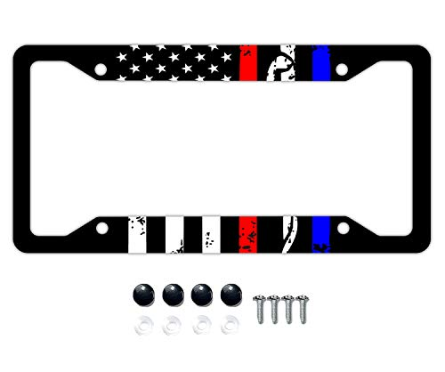 DZGlobal Police&Firefighter&EMT Flag License Plate Frame, Alumina Car Licence Plate Decor Cover with 4 Holes