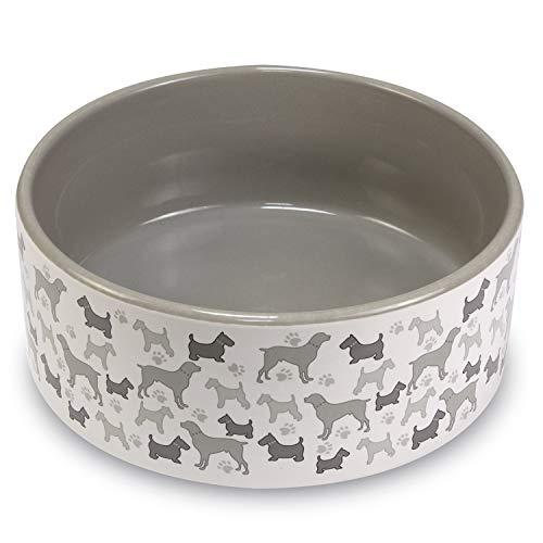 Arquivet Comedero o Bebedero de cerámica para Perros y Gatos - Antideslizante - Cuenco para Mascotas - Recipiente Comida para Animales - Plato alimentador para Perros y Gatos - 15 cm