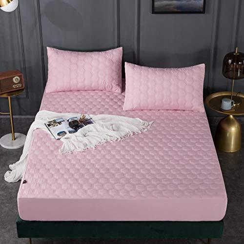 XLMHZP Protector de colchón Impermeable Acolchado en Relieve de Color sólido Blanco Funda Estilo sábana Ajustable para colchón Almohadilla Suave y Gruesa para Cama-D_150x200cm + 30cm
