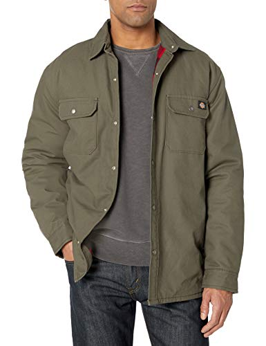 Dickies Men's Plaid Lined Shirt Jacket, Moss Green, Extra Large
