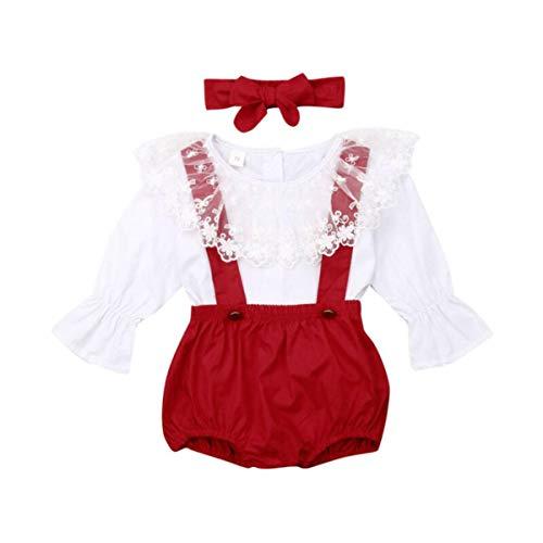 0-24M Pasgeboren baby kleding van de baby leggings witte kanten shirt met lange hoog met bretels jurk + hoofdband 3 stuks kleding