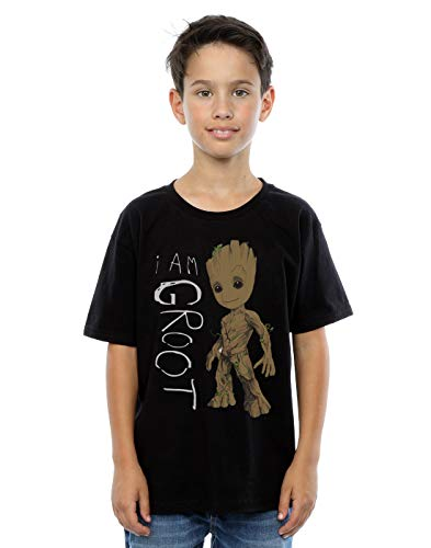 MARVEL Boys Guardians of The Galaxy I Am Groot Scribbles T-Shirt 9-11 Years Black