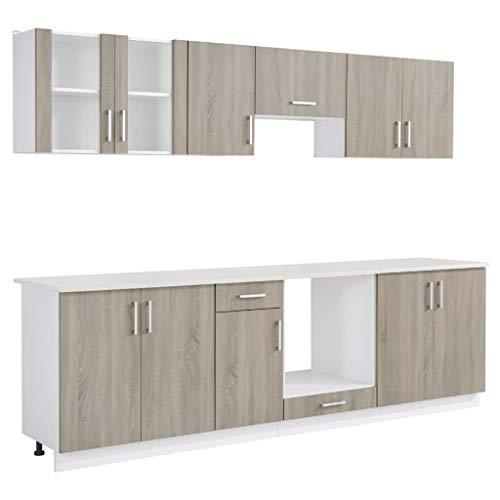 Goliraya Set 8 pz Armadietti Cucina in Quercia,Mobili Cucina componibili,Cucina componibile Completa di elettrodomestici,Mobili Cucina componibile,Cucina componibile con elettrodomestici