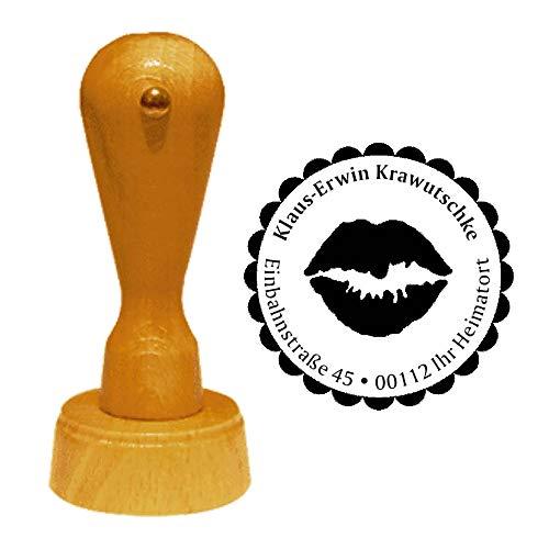 Stempel Adressstempel « MUND » Durchmesser ca. Ø 40 mm - mit persönlicher Adresse und Motiv - Kussmund Kuss Lippen
