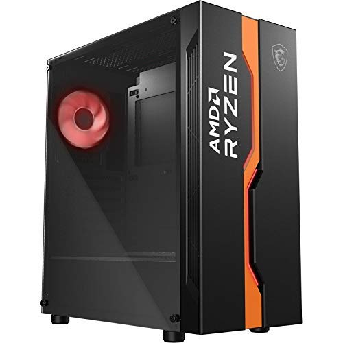 MSI MAG VAMPIRIC 011C Mid-Tower Gaming-PC-Gehäuse, Schwarz AMD Ryzen Edition, 1 x 120 mm RGB-Lüfter, Panel aus gehärtetem Glas, ATX, mATX und Mini-ITX