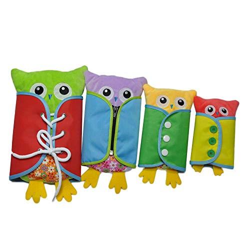 4 stuks/set baby boekenplanken, plankjes voor het leren van de basiskennis en leerplanken, uilpluche, intellectuele ontwikkeling, leren bij jurk
