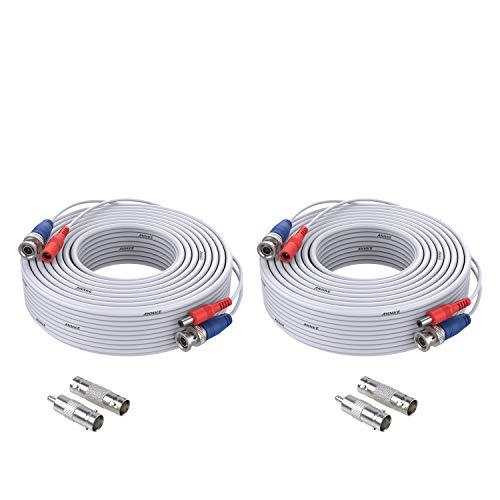 ANNKE 2 cables BNC AHD de 30 m, cable de vídeo CCTV DVR DC Power para cámara de vigilancia, videovigilancia, sistema de vigilancia, color blanco