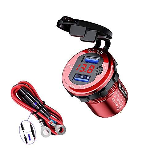 3A Cargador de Coche Doble Puerto con Voltímetro de pantalla,Cargador Rápido de Coche Dual USB Impermeable Cargador Coche Carga Rápido para motocicleta de barco de coche de 12-24 V