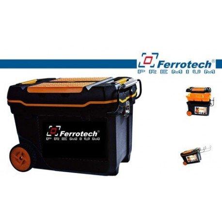 Ferrotech 1 gereedschapskist met wielen, metalen sluitingen, transportgreep