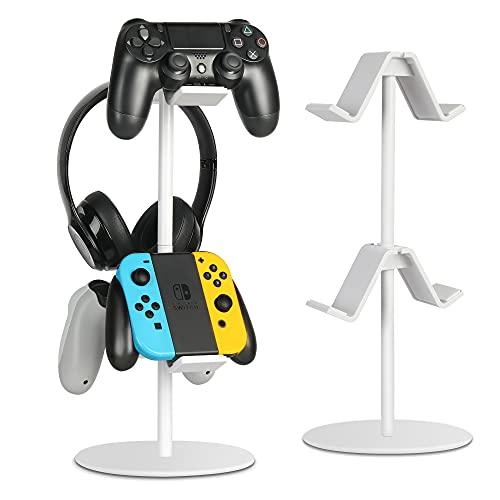 Kopfhörer Ständer &Controller Holder, Universal Kopfhörer und Game Controller Ständer,einstellbaren Höhen Richtungsklammern-Schreibtisch Organisation Display Ständer (White)