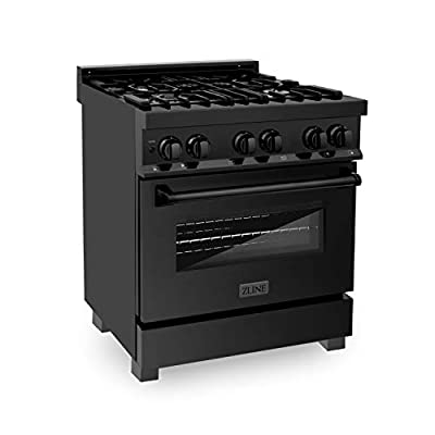 """ZLINE 30"""" 4.0 cu. ft. Dual Fuel Range with Gas Stove and Electric Oven in Black Stainless Steel (RAB-30)"""