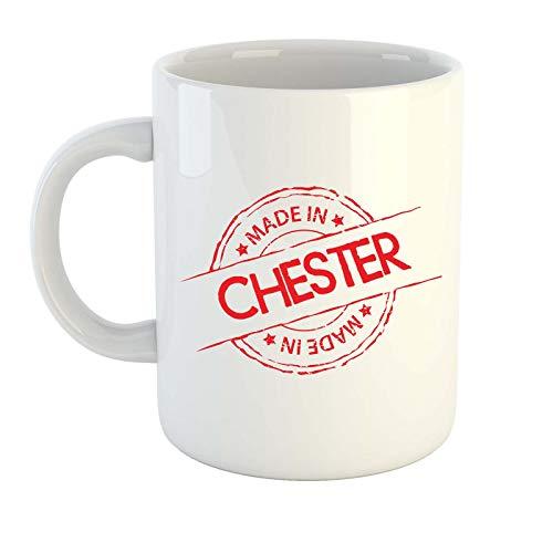 Tazza fatta in Chester in diversi colori, regalo, casa, città, luogo (bianco)