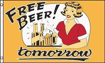 Amazon Com 3 X5 Free Beer Tomorrow Flag Sign Bong Cloth Poster Beer Outdoor Flags Garden Outdoor