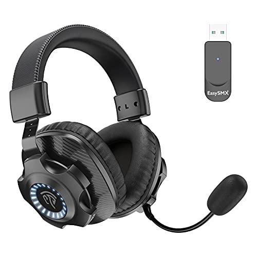 EasySMX Cuffie Gaming Wirelss per PS4 , Cuffie da Gaming con Microfono Bass Stereo 2.4G Senza Fili, Gaming Headset Wireless con Jack 3.5mm, Controllo Volume e LED per PS4/ Xbox one/PC/ Mac