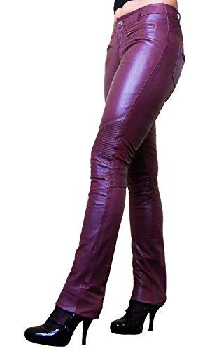 RICANO DONNA Damen Lederhose, Ziegen Nappa Echtleder (Brombeer, XL)