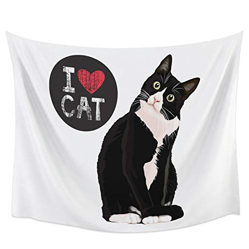 Animal Cat And I Love Cat Tapiz Cubierta Toalla de playa Picnic Yoga Mat Decoración del hogar 150x180cm