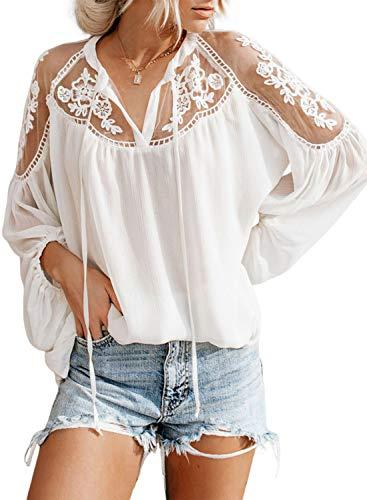 Aleumdr Spitze Bluse Damen Bluse Langarm Elegant Oberteil V-Ausschnitt Casual Tops Lose Langarmshirt Vintage Tunika Shirt