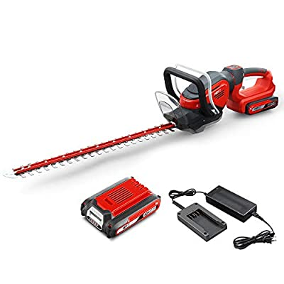 HENX 24-Inch Cordless Hedge Trimmer 40V Max Lithium-ion with Dual-Action Blade, 3000 Cutting Strokes, 2.5 AH Battery Included
