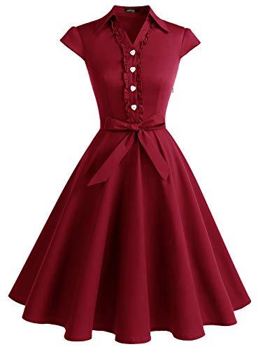 WedTrend Damen 50er Vintage Retro Rockabilly Swing Kleid Kurzer Ärmel Cocktailkleider WTP10007DarkRedM