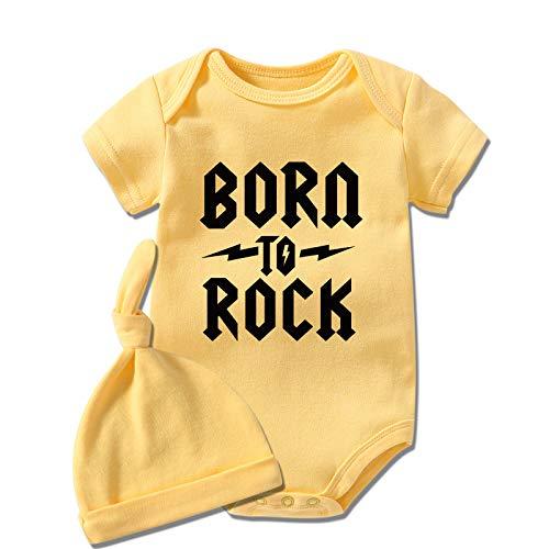 """Culbutomind Born to Rock - Body da neonato a maniche corte, con motivo """"Born to Rock"""" Cappello giallo a rocce 6 mesi"""
