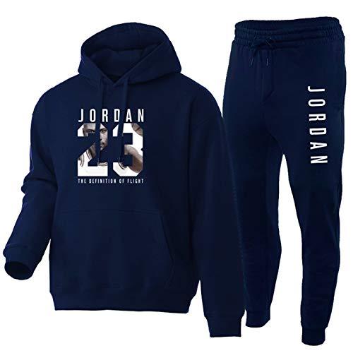 QXYJ Chicago Bulls 23#Michael Jordan Herren Basketball Kapuzenpullover Trainingsanzug Anzüge Langarm Casual Sportswear Top mit Hose 2 Stück Set (S-3XL) Navy-XXXL